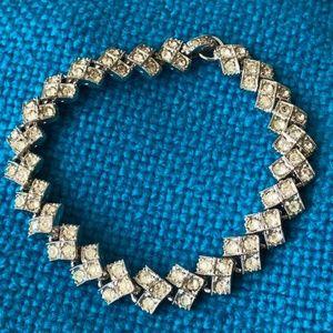 "Jewelry - Rhodium plated ART DECO Rhinestone bracelet 6 3/4"""